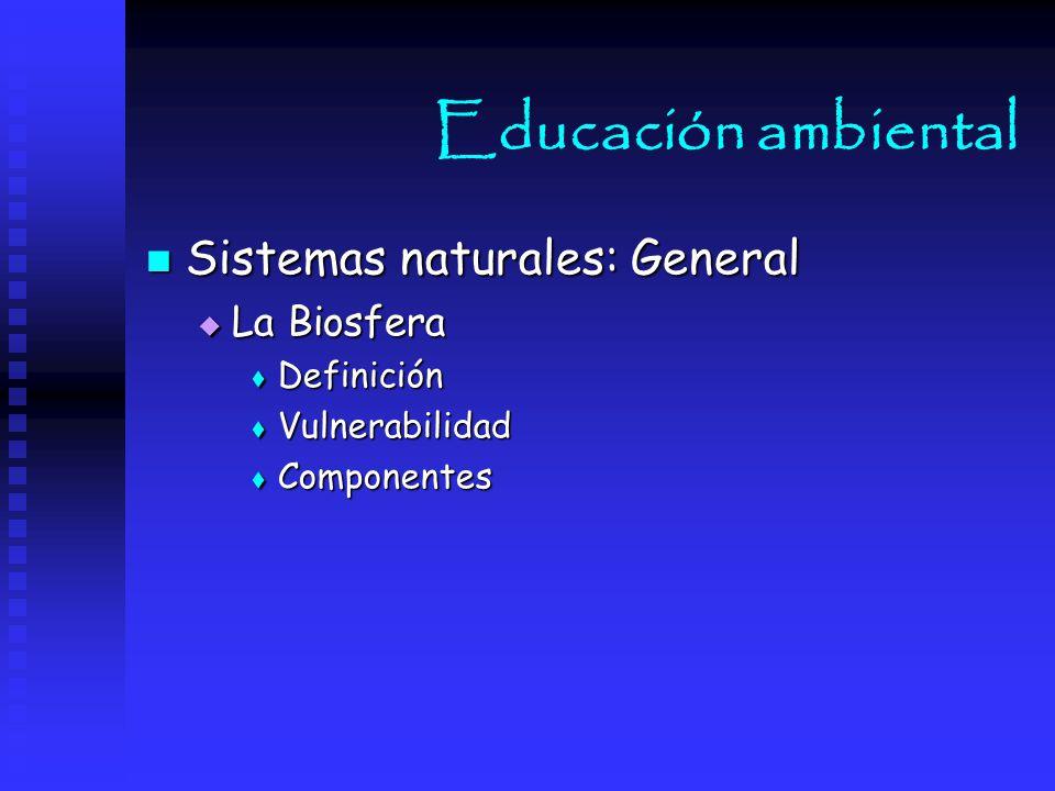 Educación ambiental Sistemas naturales: General La Biosfera Definición