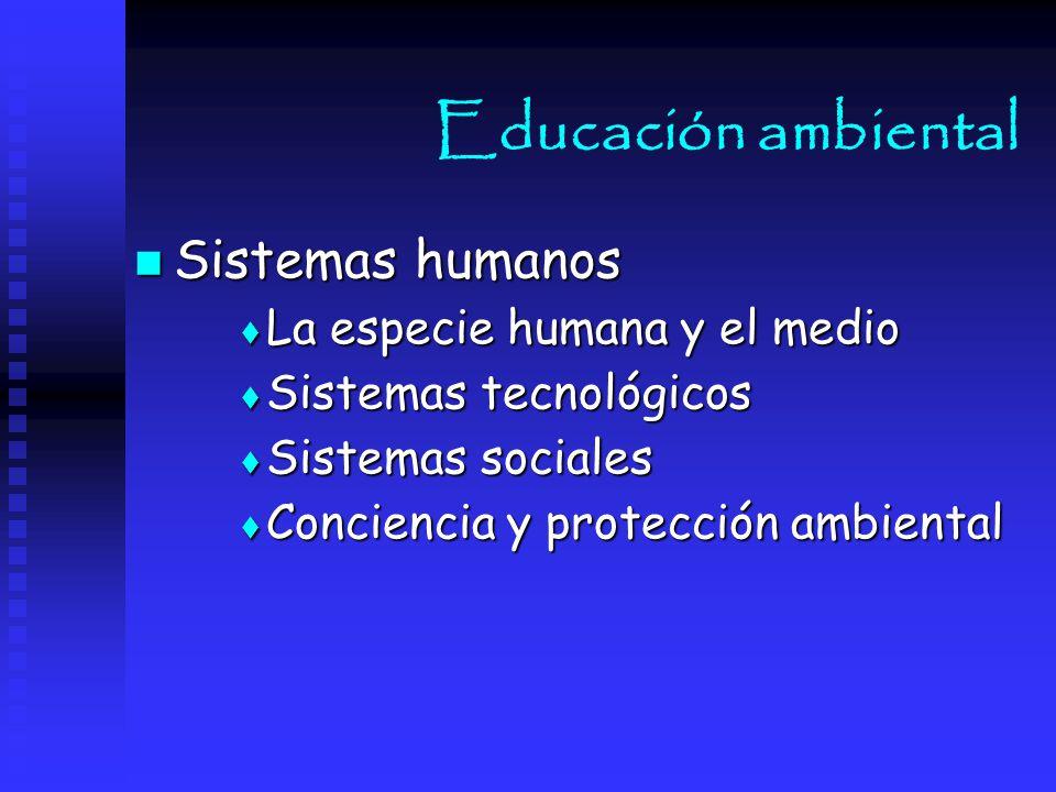 Educación ambiental Sistemas humanos La especie humana y el medio