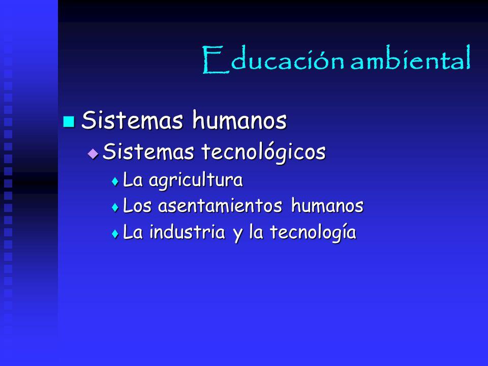 Educación ambiental Sistemas humanos Sistemas tecnológicos