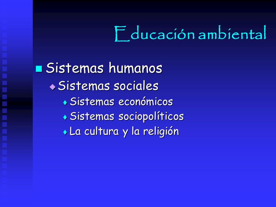 Educación ambiental Sistemas humanos Sistemas sociales