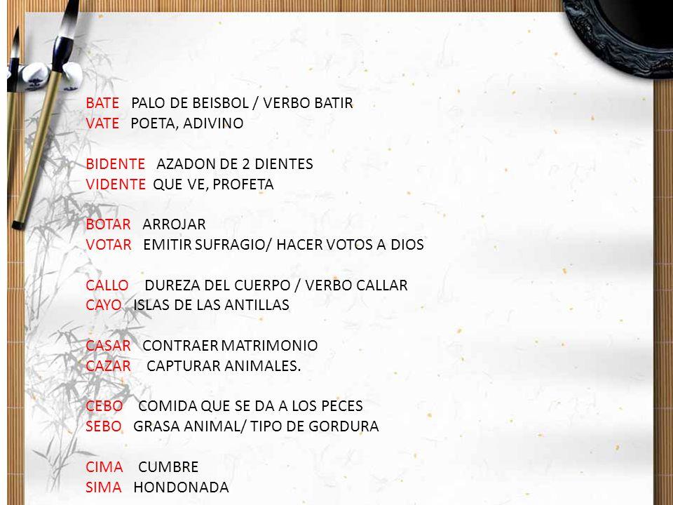 BATE PALO DE BEISBOL / VERBO BATIR