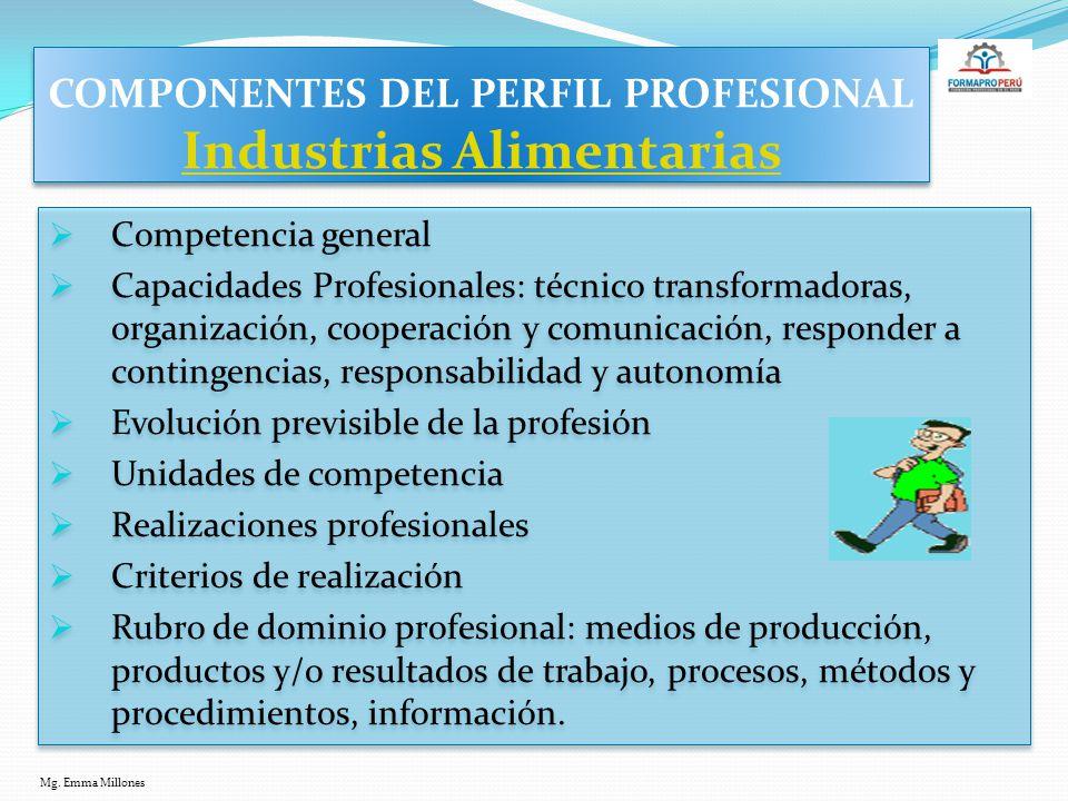 COMPONENTES DEL PERFIL PROFESIONAL Industrias Alimentarias
