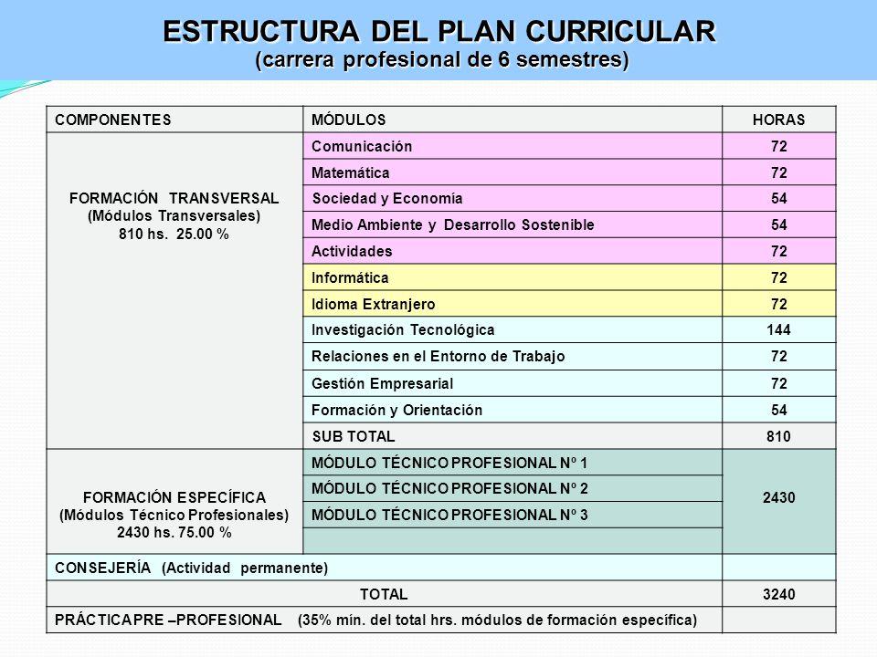 ESTRUCTURA DEL PLAN CURRICULAR (carrera profesional de 6 semestres)