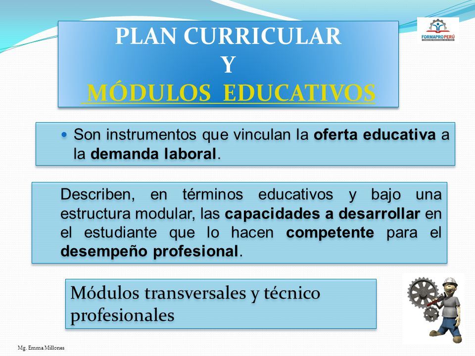 PLAN CURRICULAR Y MÓDULOS EDUCATIVOS