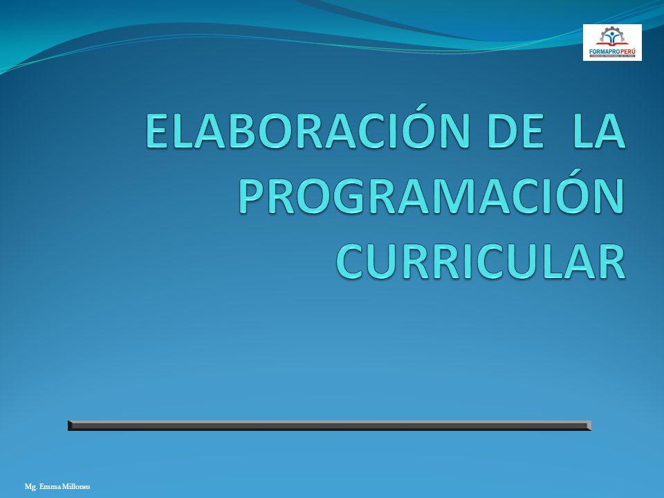 ELABORACIÓN DE LA PROGRAMACIÓN CURRICULAR