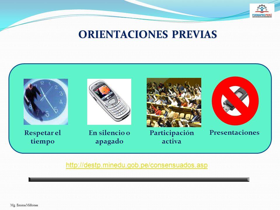 ORIENTACIONES PREVIAS