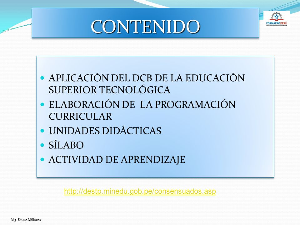CONTENIDO APLICACIÓN DEL DCB DE LA EDUCACIÓN SUPERIOR TECNOLÓGICA