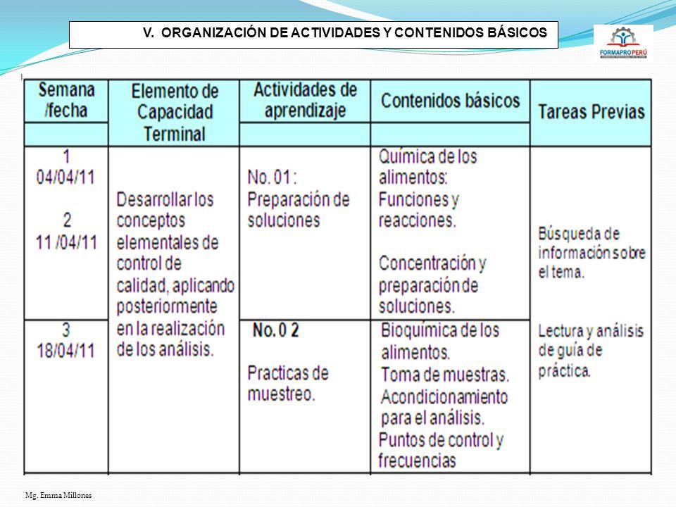 V. ORGANIZACIÓN DE ACTIVIDADES Y CONTENIDOS BÁSICOS