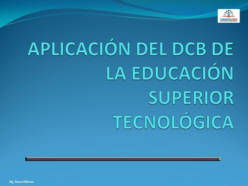 APLICACIÓN DEL DCB DE LA EDUCACIÓN SUPERIOR TECNOLÓGICA