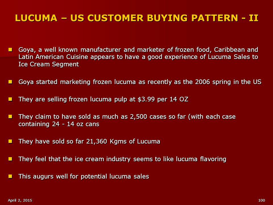 LUCUMA – US CUSTOMER BUYING PATTERN - II