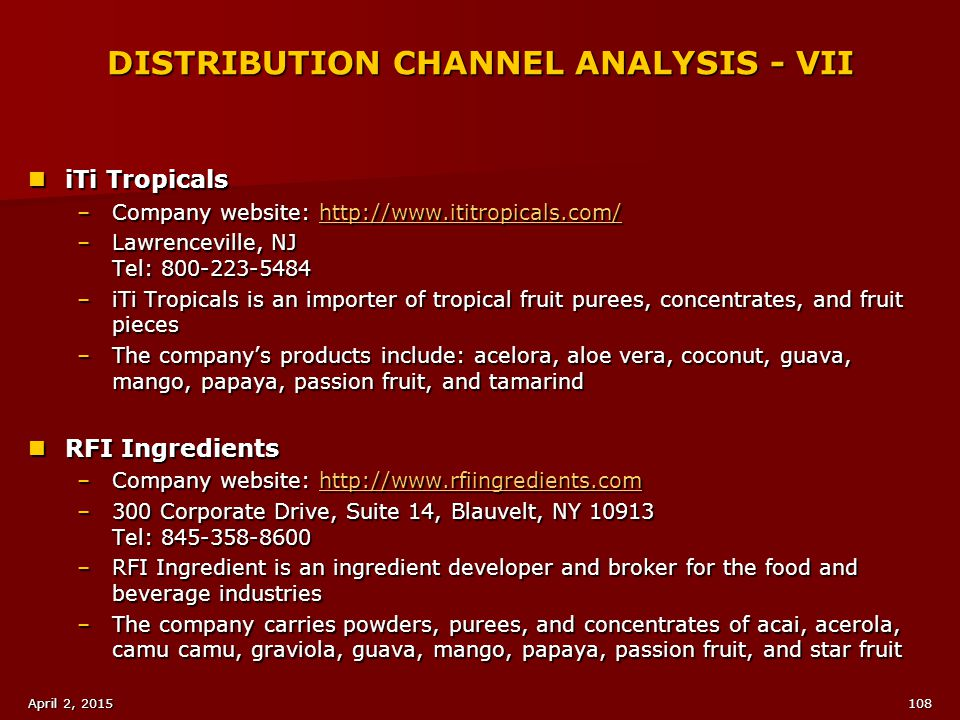 DISTRIBUTION CHANNEL ANALYSIS - VII