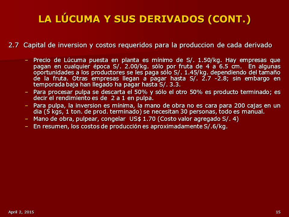 LA LÚCUMA Y SUS DERIVADOS (CONT.)