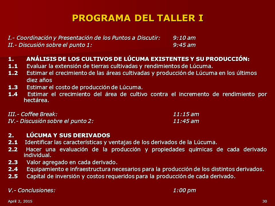 PROGRAMA DEL TALLER I I.- Coordinación y Presentación de los Puntos a Discutir: 9:10 am. II.- Discusión sobre el punto 1: 9:45 am.