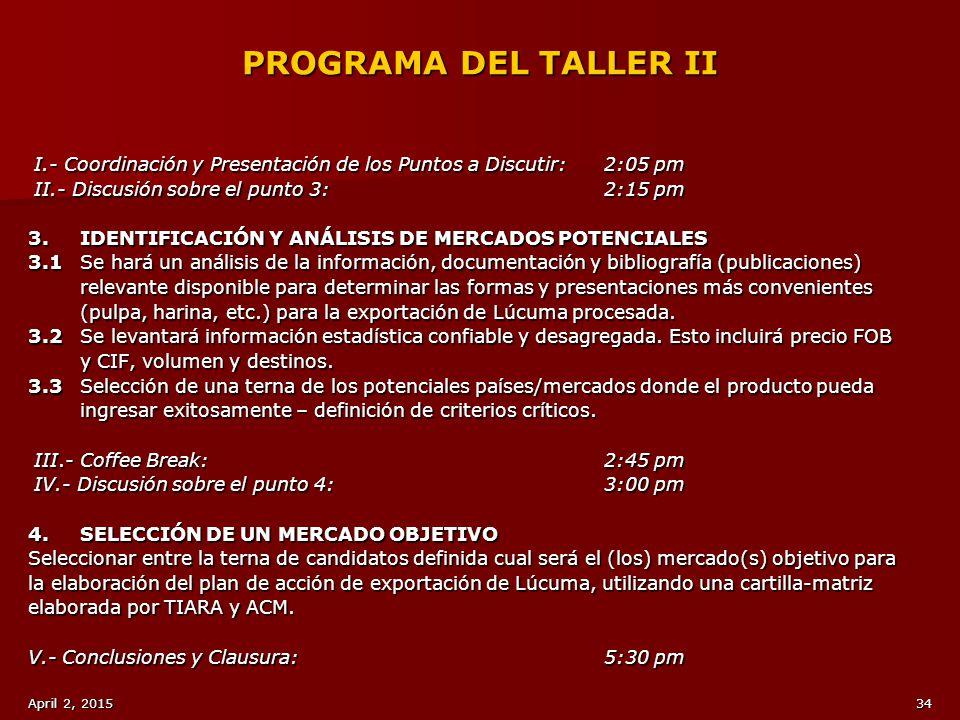 PROGRAMA DEL TALLER II I.- Coordinación y Presentación de los Puntos a Discutir: 2:05 pm. II.- Discusión sobre el punto 3: 2:15 pm.