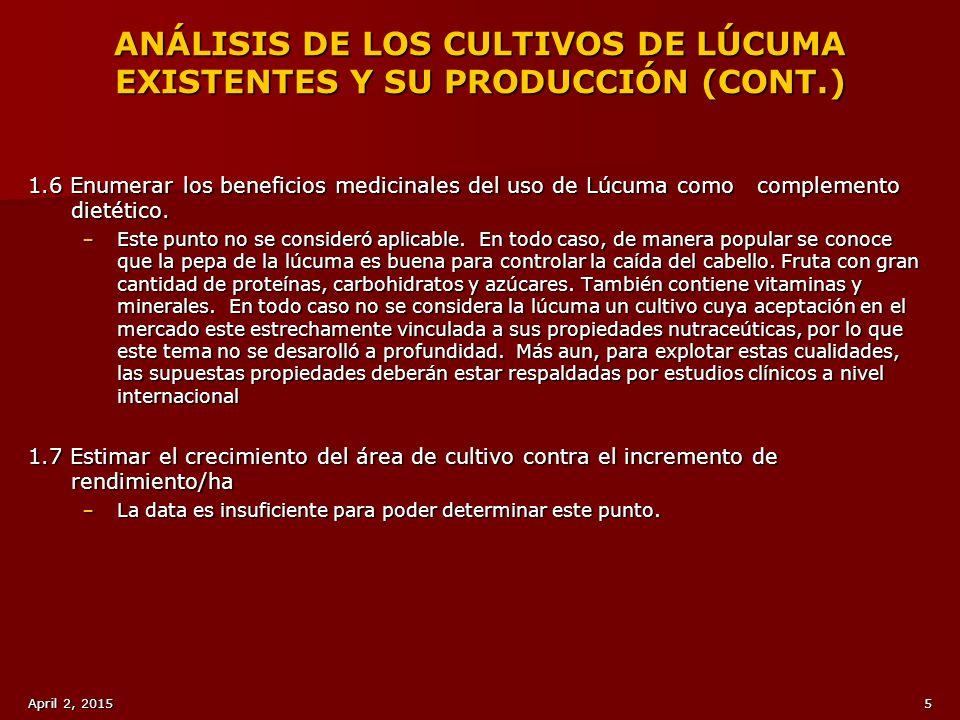 ANÁLISIS DE LOS CULTIVOS DE LÚCUMA EXISTENTES Y SU PRODUCCIÓN (CONT.)