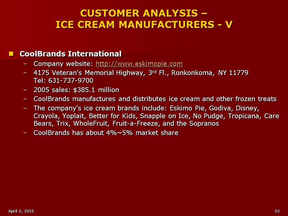 CUSTOMER ANALYSIS – ICE CREAM MANUFACTURERS - V