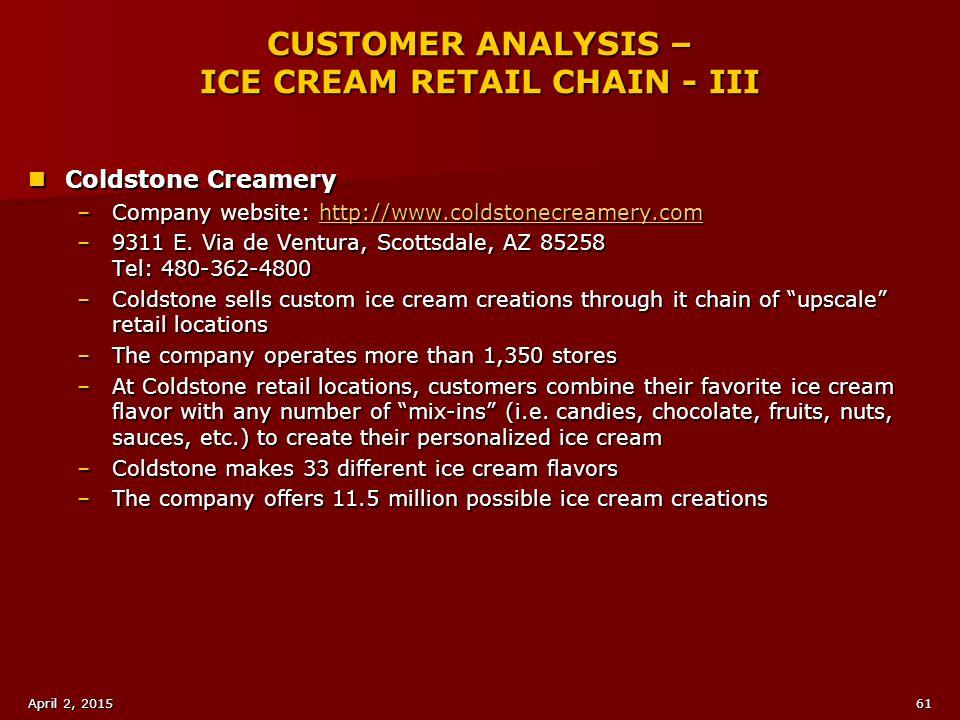 CUSTOMER ANALYSIS – ICE CREAM RETAIL CHAIN - III