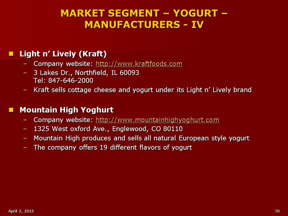 MARKET SEGMENT – YOGURT – MANUFACTURERS - IV