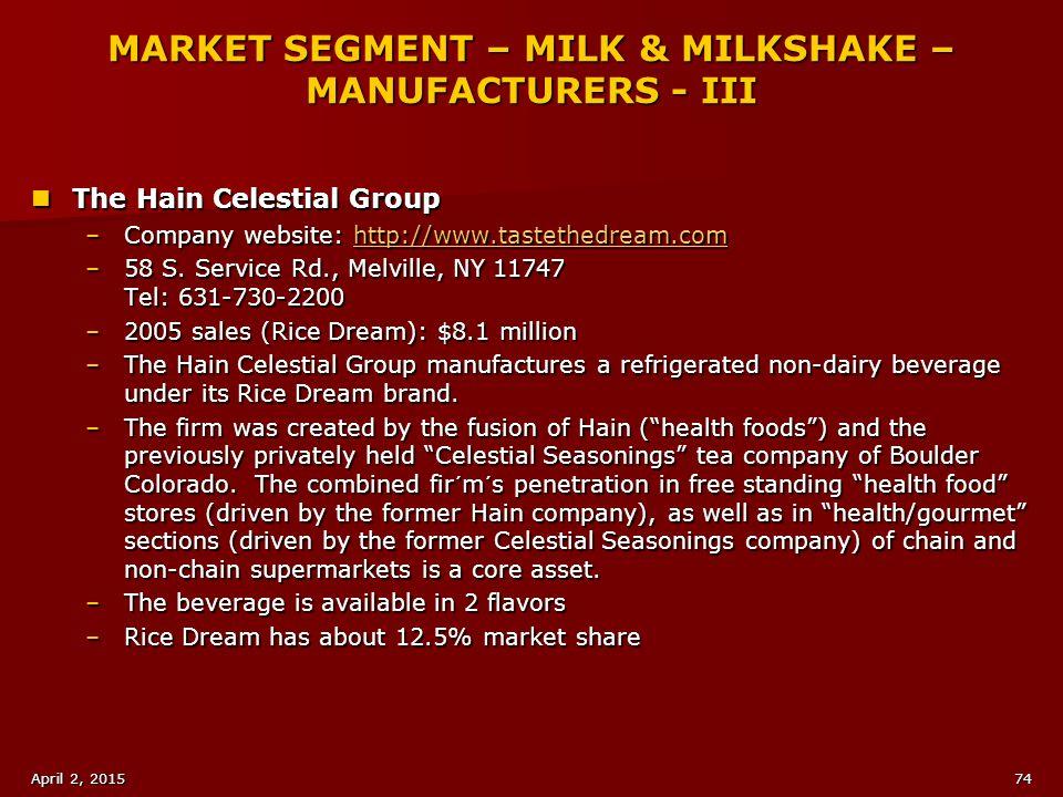 MARKET SEGMENT – MILK & MILKSHAKE – MANUFACTURERS - III