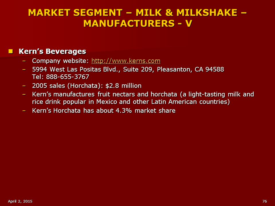 MARKET SEGMENT – MILK & MILKSHAKE – MANUFACTURERS - V