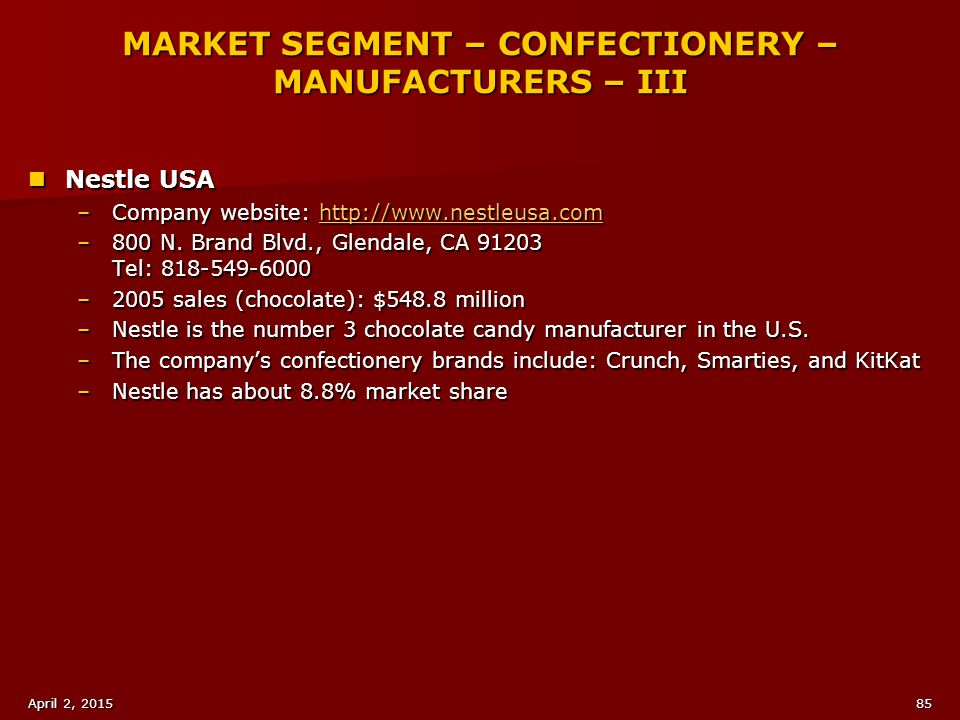 MARKET SEGMENT – CONFECTIONERY – MANUFACTURERS – III