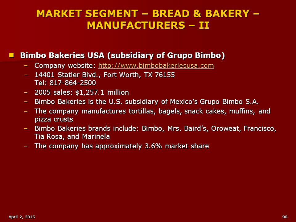MARKET SEGMENT – BREAD & BAKERY – MANUFACTURERS – II
