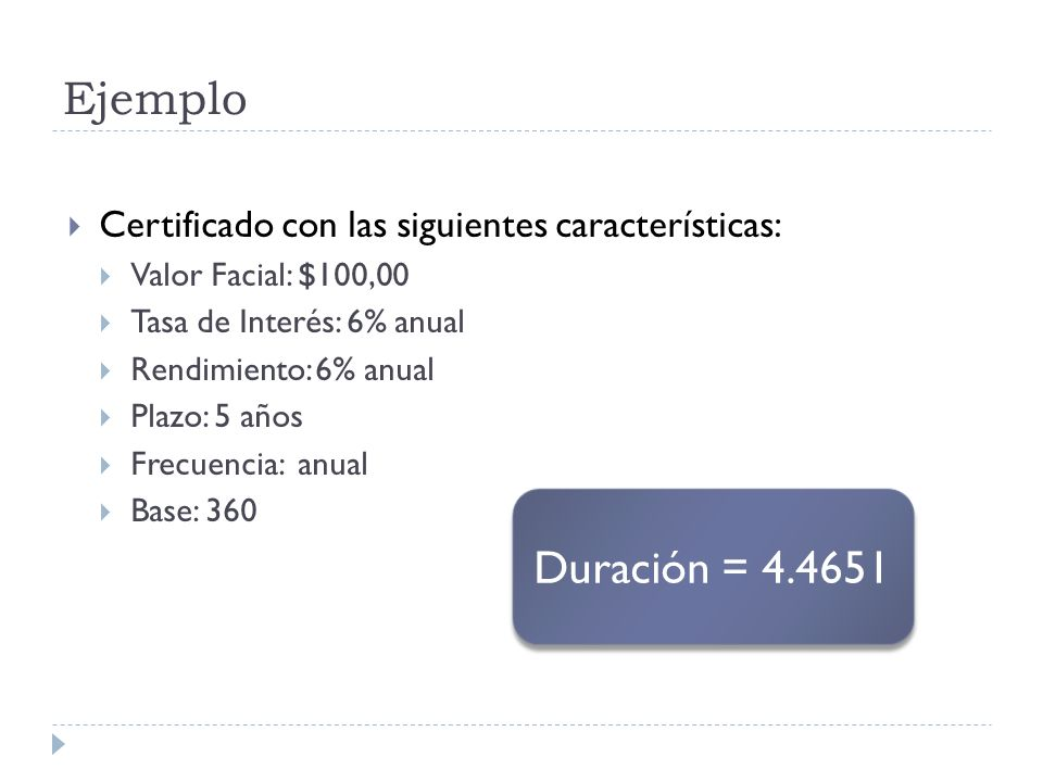 Ejemplo Certificado con las siguientes características: Valor Facial: $100,00. Tasa de Interés: 6% anual.