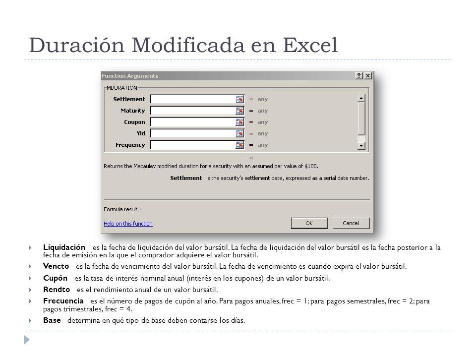 Duración Modificada en Excel