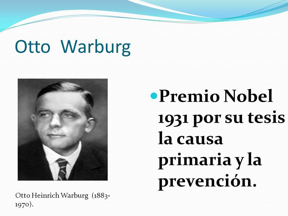 Otto Warburg Premio Nobel 1931 por su tesis la causa primaria y la prevención.