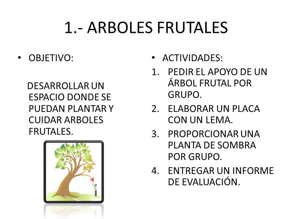 1.- ARBOLES FRUTALES OBJETIVO: