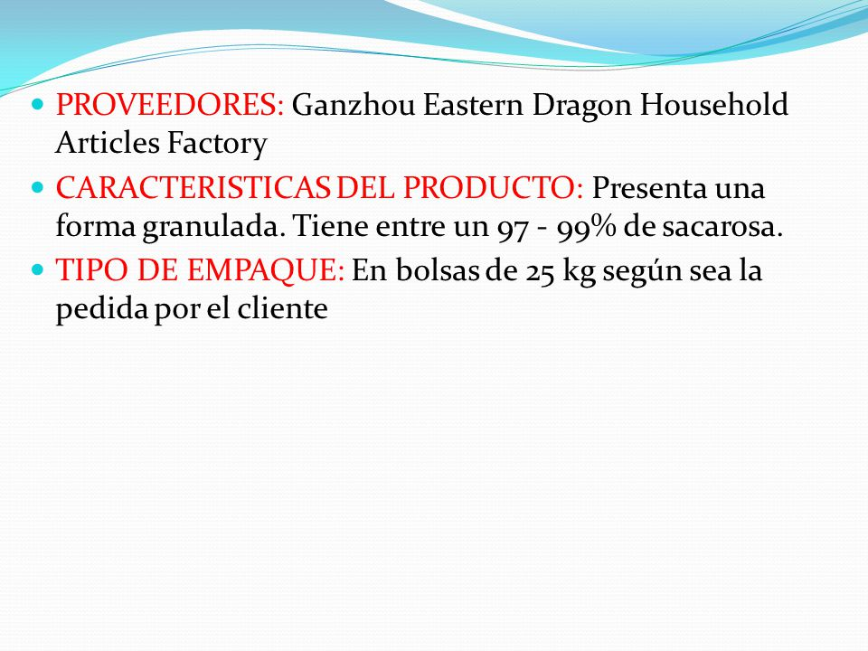 PROVEEDORES: Ganzhou Eastern Dragon Household Articles Factory