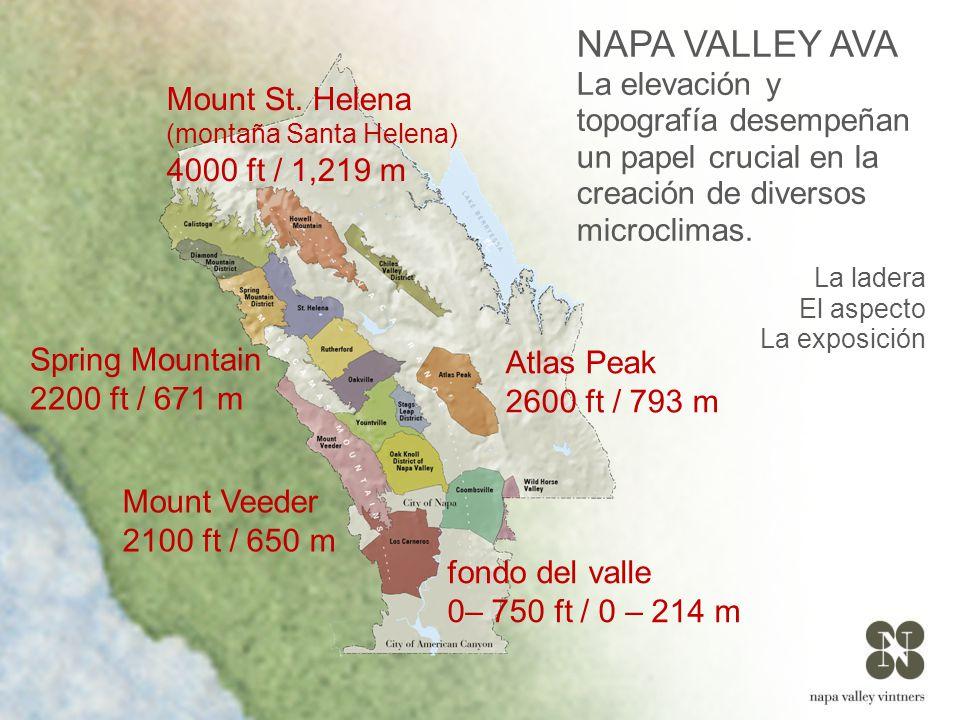 NAPA VALLEY AVA La elevación y topografía desempeñan un papel crucial en la creación de diversos microclimas.