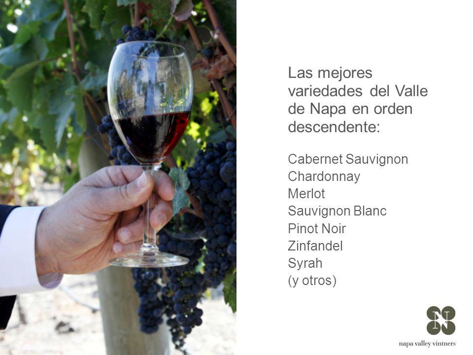 Las mejores variedades del Valle de Napa en orden descendente: