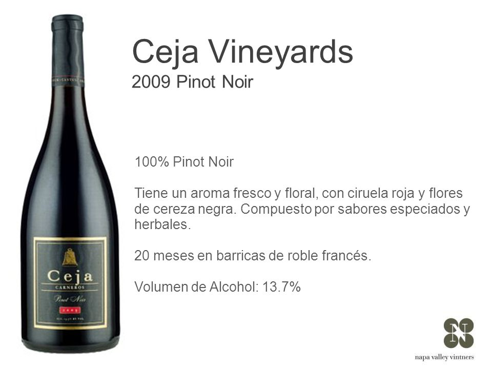 Ceja Vineyards 2009 Pinot Noir