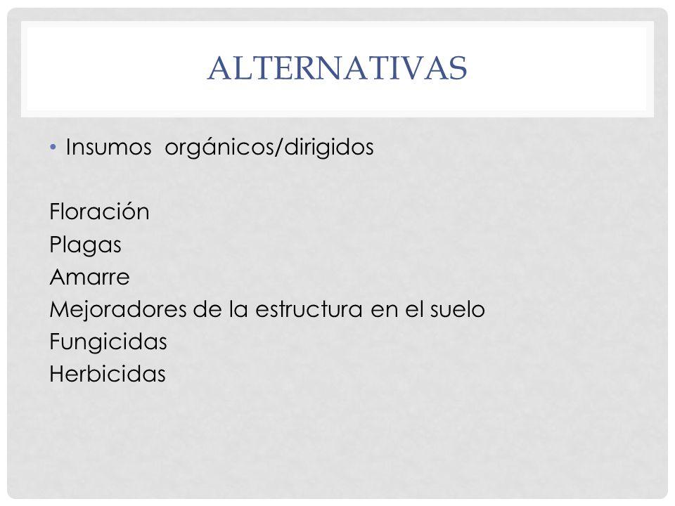 alternativas Insumos orgánicos/dirigidos Floración Plagas Amarre