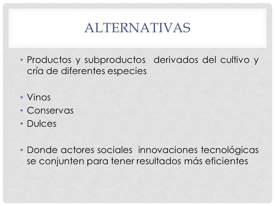 alternativas Productos y subproductos derivados del cultivo y cría de diferentes especies. Vinos.