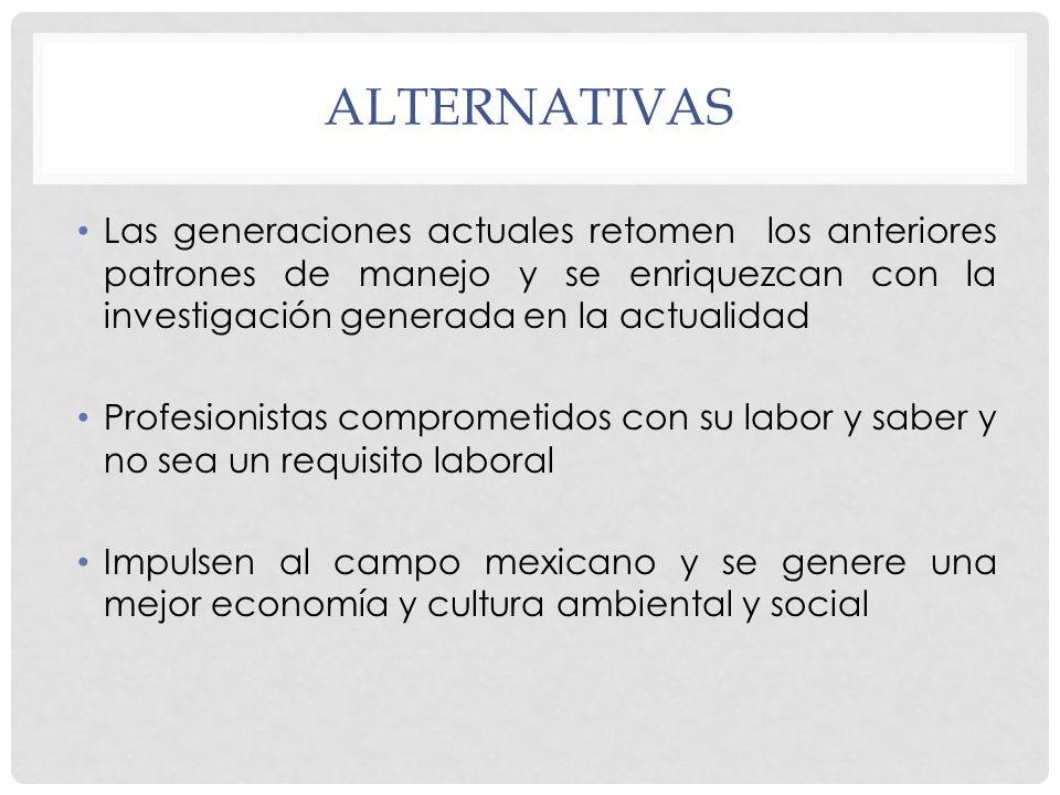 alternativas Las generaciones actuales retomen los anteriores patrones de manejo y se enriquezcan con la investigación generada en la actualidad.