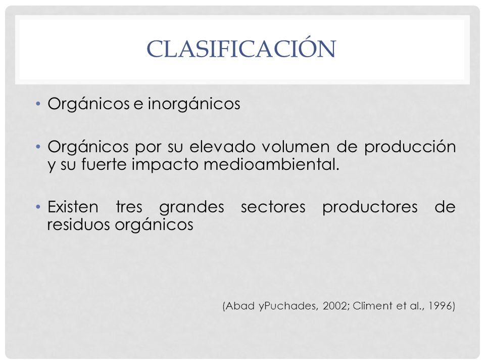 clasificación Orgánicos e inorgánicos
