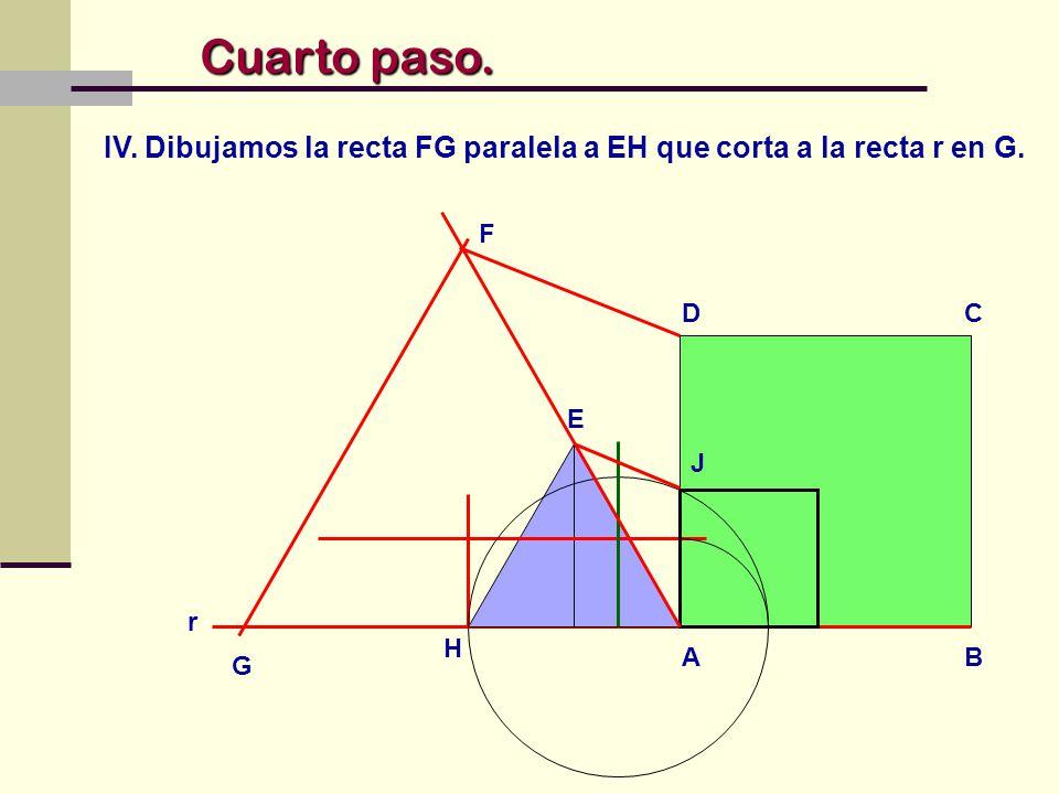 IV. Dibujamos la recta FG paralela a EH que corta a la recta r en G.