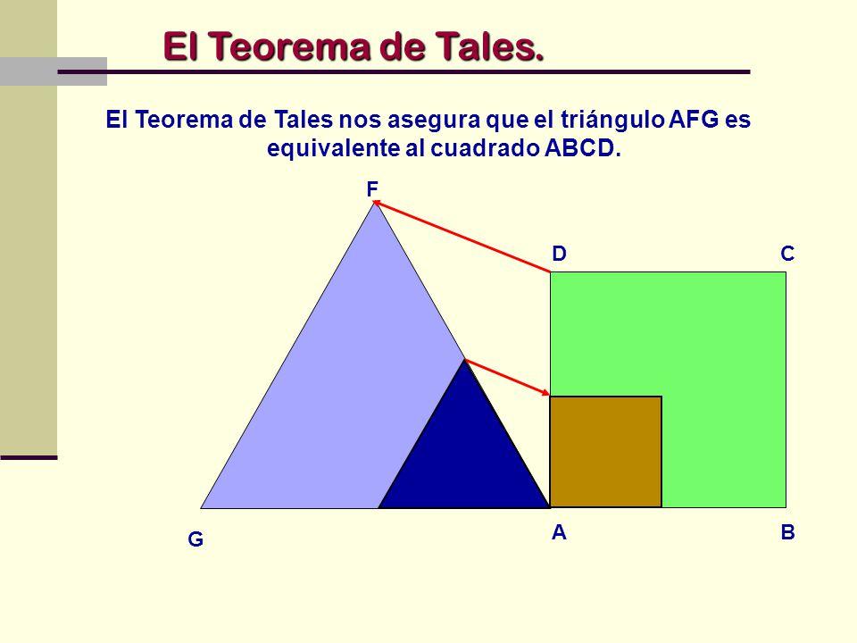 El Teorema de Tales. El Teorema de Tales nos asegura que el triángulo AFG es equivalente al cuadrado ABCD.
