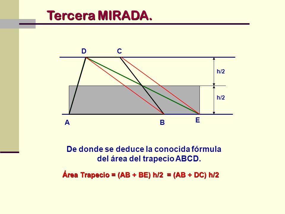 De donde se deduce la conocida fórmula del área del trapecio ABCD.
