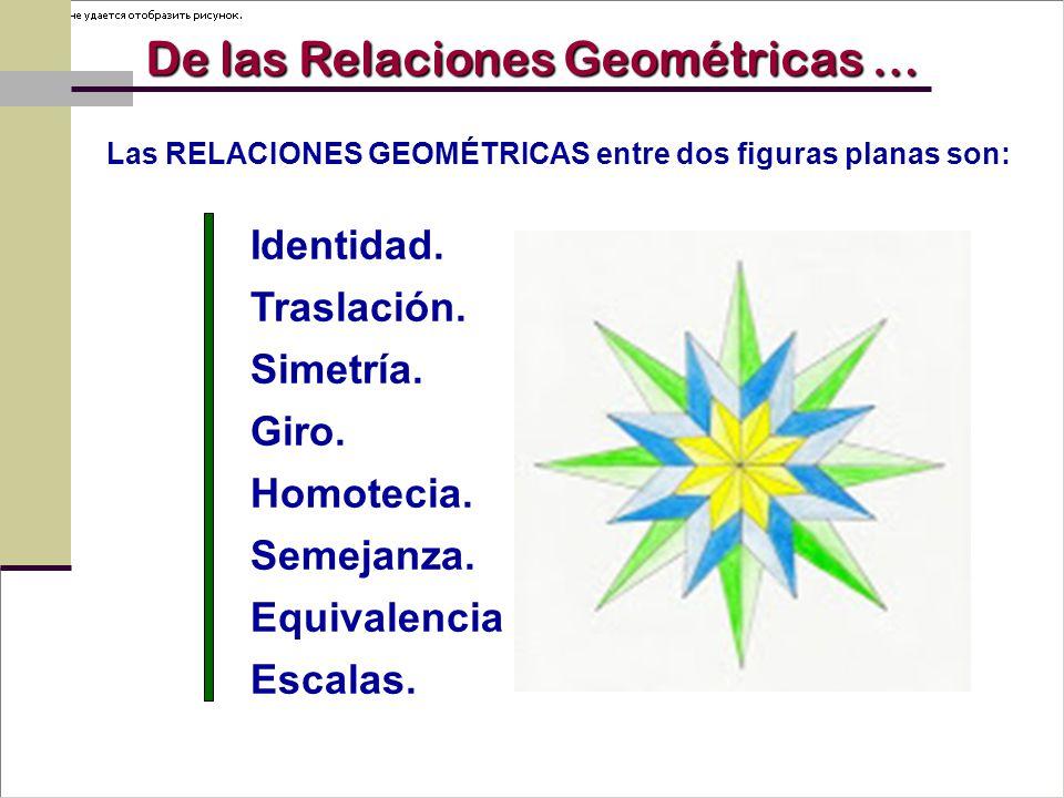 Las RELACIONES GEOMÉTRICAS entre dos figuras planas son: