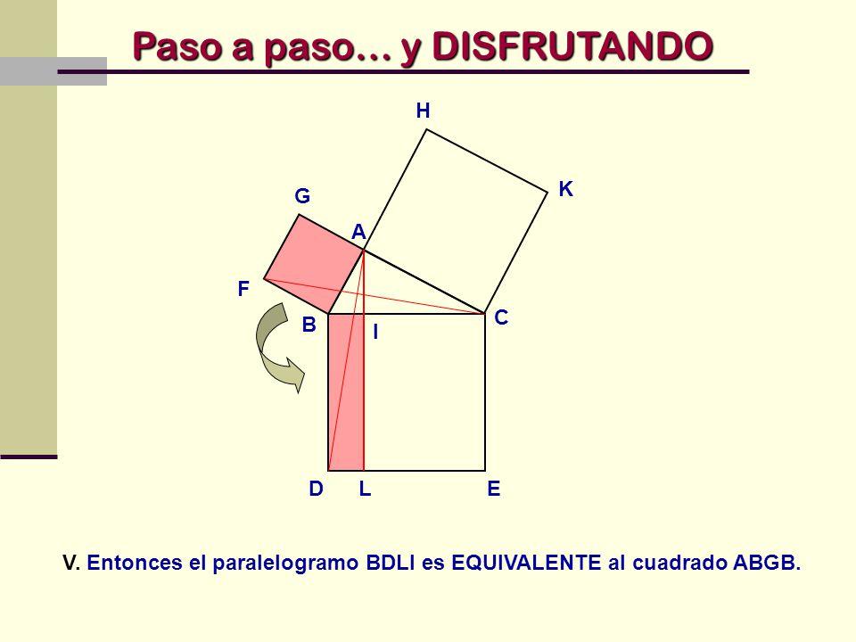 V. Entonces el paralelogramo BDLI es EQUIVALENTE al cuadrado ABGB.