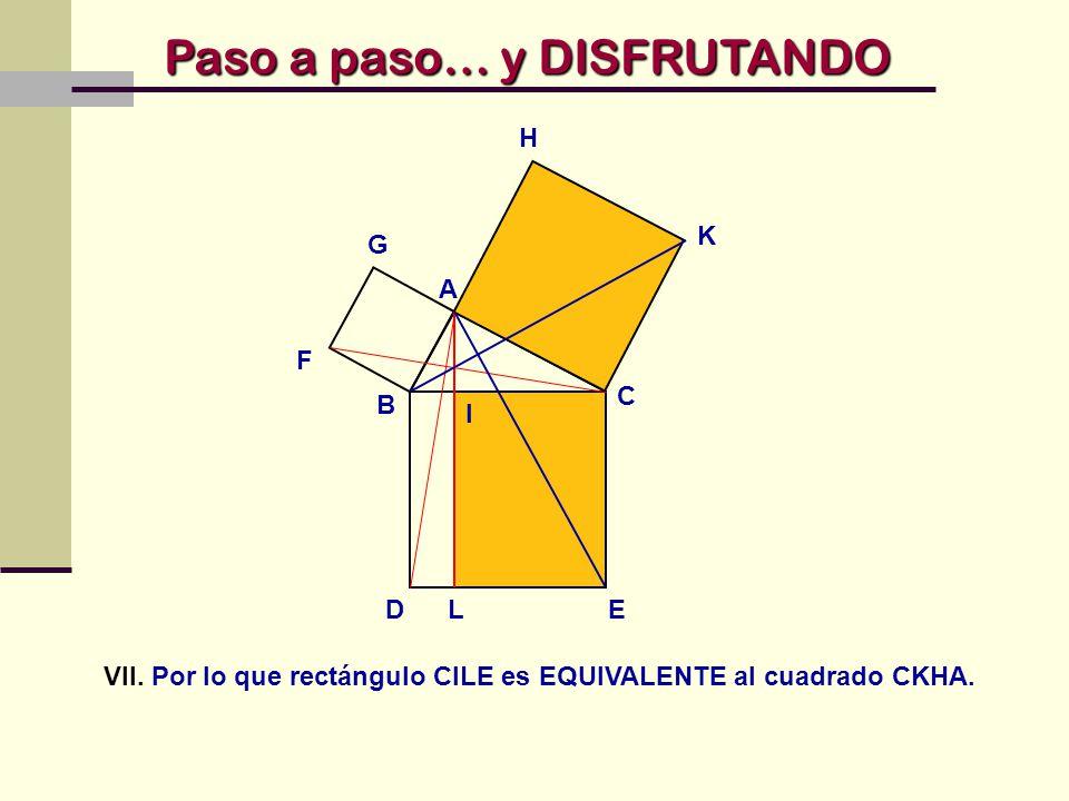 VII. Por lo que rectángulo CILE es EQUIVALENTE al cuadrado CKHA.