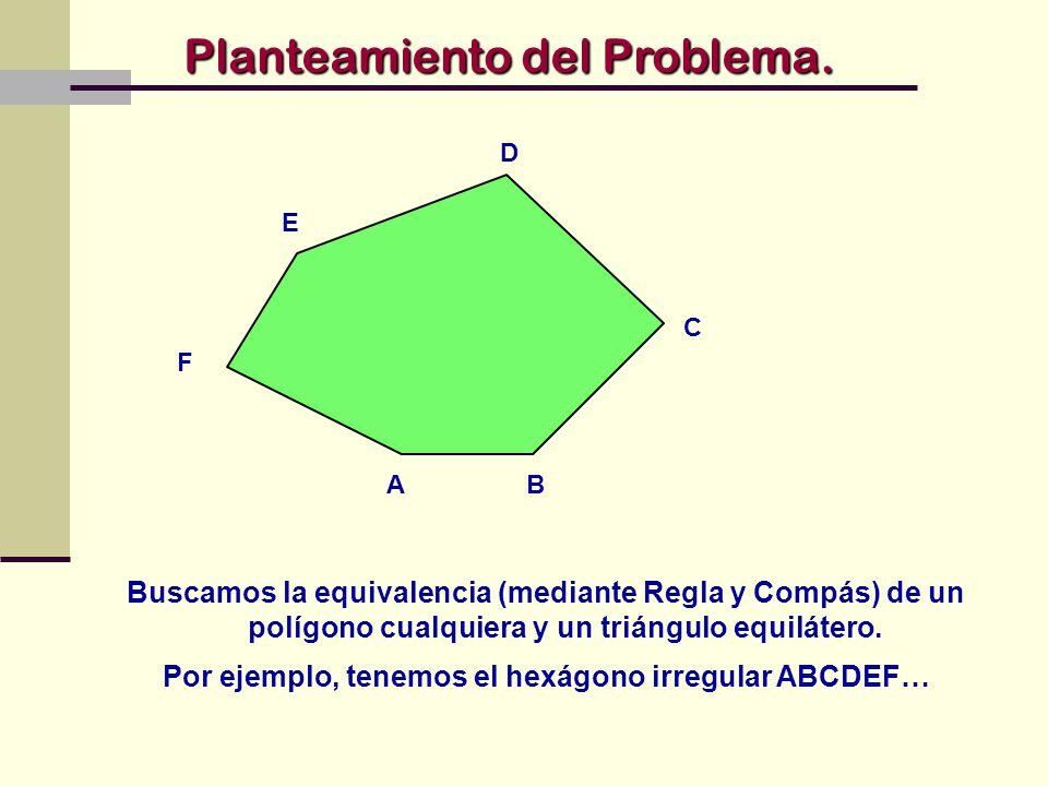 Por ejemplo, tenemos el hexágono irregular ABCDEF…