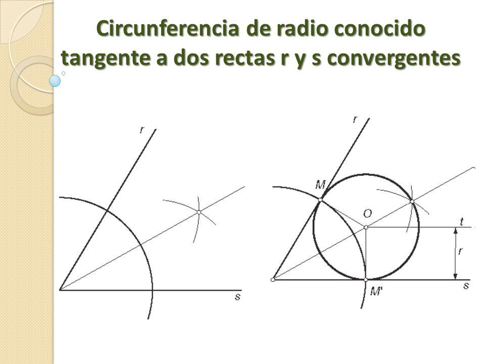 Circunferencia de radio conocido tangente a dos rectas r y s convergentes