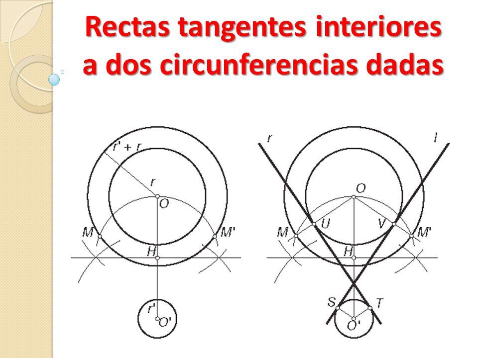 Rectas tangentes interiores a dos circunferencias dadas