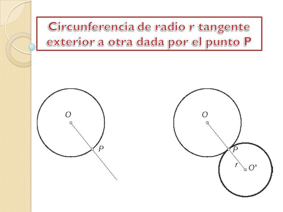 Circunferencia de radio r tangente exterior a otra dada por el punto P
