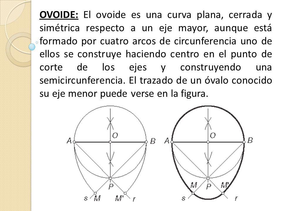 OVOIDE: El ovoide es una curva plana, cerrada y simétrica respecto a un eje mayor, aunque está formado por cuatro arcos de circunferencia uno de ellos se construye haciendo centro en el punto de corte de los ejes y construyendo una semicircunferencia.