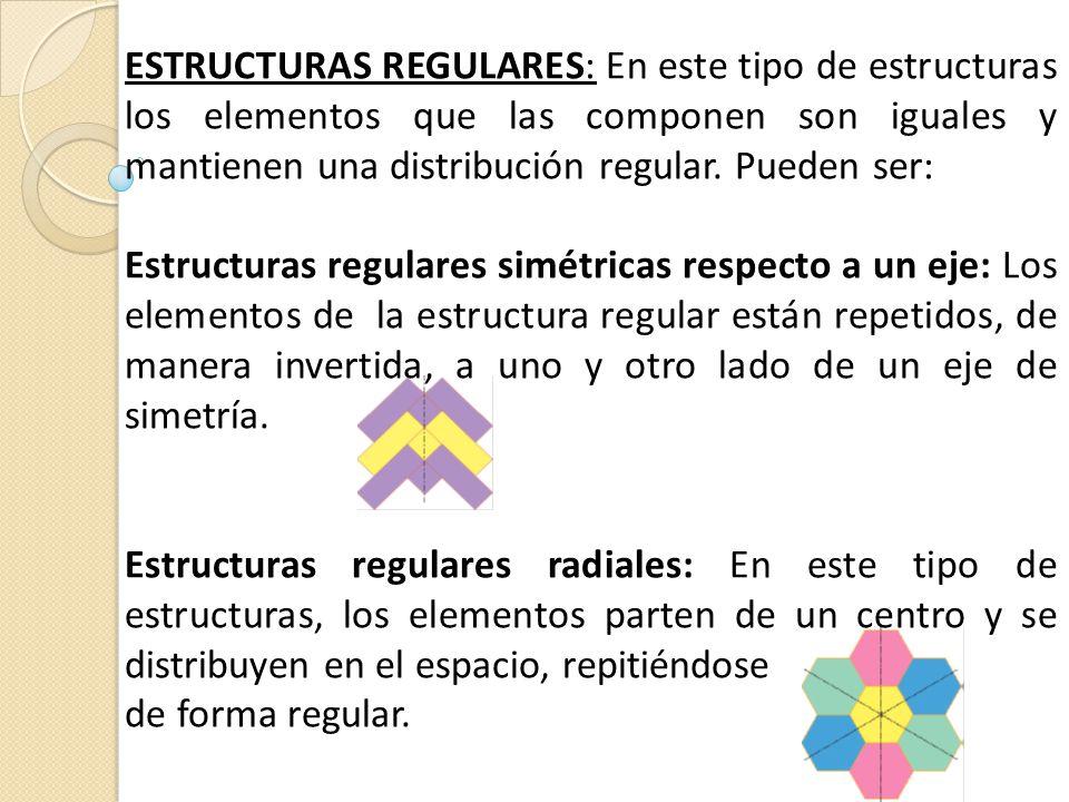 ESTRUCTURAS REGULARES: En este tipo de estructuras los elementos que las componen son iguales y mantienen una distribución regular. Pueden ser:
